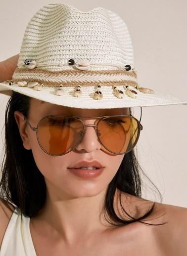 Morhipo Beach Deniz Kabuğu Şeritli Hasır Şapka Ekru